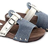 Sepatu Wedges Terbaru Pu-Canvas Sol Karet Coklat Biru BLY 35