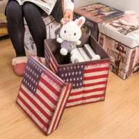 Storage Box US FLAG Tempat Mainan / Majalah / Kursi Organizer
