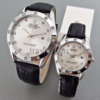 Exclusive Jam Tangan Rolex Couple Leather Black Silver Harga Sepasang