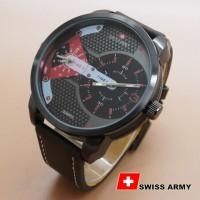 OBRAL Jam Tangan Swiss Army BA625 (Coklat Leather List Merah)