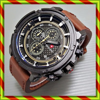 Swiss Army 5038 Kulit Coklat | Jam Tangan Chrono Tanggal Rolex Fossil