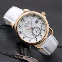 EKSLUSIF LIMETED Jam Tangan Pria / Wanita Hermes SK30 Leather White Ro