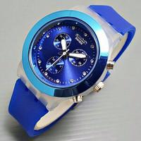 PROMO EKSLUSIF Jam Tangan Wanita / Cewek Swatch Chrono Rubber Blue MUR