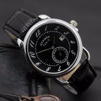 EKSLUSIF PROMO Jam Tangan Pria / Wanita Hermes SK30 Leather Black Silv