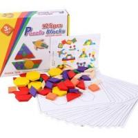 Jual Puzle Kayu Blok Tangram 125 Pcs / Wooden Puzzle Blocks Import Murah