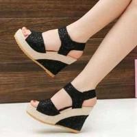 Wedges Brukat Hitam ON29 | Sepatu Wanita | Sepatu Wedges |Wedges Hitam