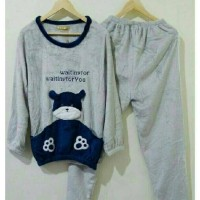 STLN429 - Setelan Panjang Grey Blue Navy Bear Waiting Bludru