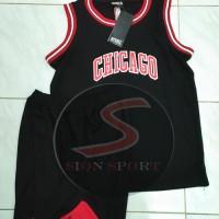 Setelan Jersey Baju Basket NBA Anak Impor - Chicago Bulls hitam