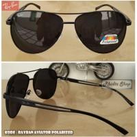 Jual R a y b a n Aviator polarized (kacamata pria lensa hitam free case) Murah