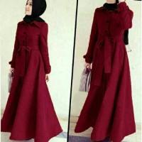 asd setelan st hijab muslim coat Abudhabi maroon / baju wanita maxi