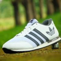 Sepatu Kets Adidas V Racer Clasic/Putih Abu/Casual Sneakers Santai