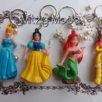 Gantungan Kunci Princess Keychain Belle Cinderella Mermaid Snow White