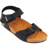 Sandal Navara Alfred Black Leather Baru | Sandal Flat Pria Murah