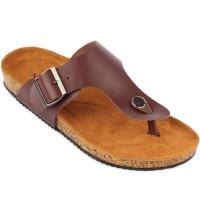 Sandal Navara Anson Brown Leather Baru | Sandal Flat Pria Murah
