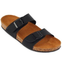 Sandal Navara Abel Black Leather Baru | Sandal Flat Pria Murah