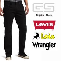 Celana Jeans Pria Regular - Hitam - Levis - Lois - Wrangler1