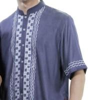 Baju Muslim Pria, Bahan Cotton Cleo, Warna Biru (AZR-281)