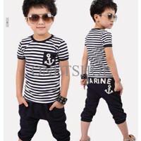Set marine Black Baju setelan anak Pakaian anak cowok