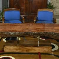 Meja Tamu Solid Kayu Rambutan Dengan Kaki Kayu Angsana Dan Stainless