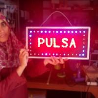 Papan Nama Tulisan Lampu led Sign PULSA untuk tempat usaha konter hp