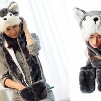 Jual Panda Hat Syal Panjang (Animal Hat / Topi Hewan) Murah