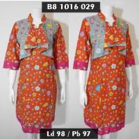 dres batik model rompi lekat / sek dress terbaru / gaun pesta oren