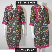 dres batik model rompi lekat / sek dress terbaru / gaun pesta abu pink