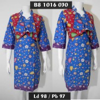 dres batik model rompi lekat / sek dress terbaru / gaun pesta biru
