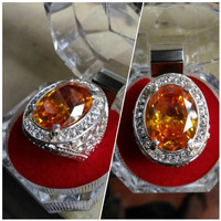 Cincin Golden Citrine Oval Cut Top Quality