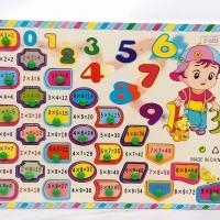 Puzzle Knob Kayu Angka Tabel Perkalian Matematika Mainan Edukasi