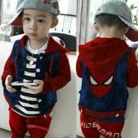 set spiderman boy pakaian stelan baju anak laki