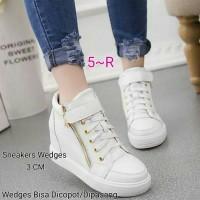 Sepatu Sneakers Wedges Wanita Putih Resleting Pasang-copot