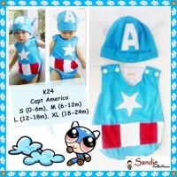 Jual Baju Jumper Karakter Bayi Kostum CAPTAIN AMERICA Size L 1 tahun, 18m Murah