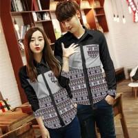 Baju Kemeja Couple Batik Kain Songket Hitam Lengan Panjang