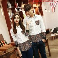 Baju Kemeja Couple Batik Kain Songket Putih Lengan Panjang