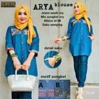 BLOUSE ARYA-jeans wash ory mix songket ory-saku samping