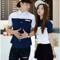 Kemeja NP biru putih couple | baju lengan panjang | couple murah