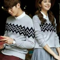 Sweater Zigzag abu couple | baju couple lengan panjang | couple murah