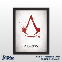 Poster 30 x 40 cm / A3 + Frame Tanpa Kaca - Game Assassin's Creed