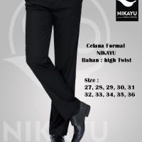 Celana HIGH TWIST SLIMFIT - Kerja Kantor Jas Formal Hitam Bahan PANJAN
