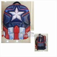 Tas Ransel Sekolah Anak SD 3D/5D Gambar Timbul 2 Rest Captain America