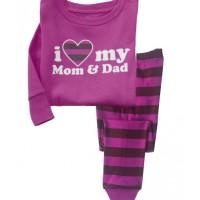 Baju tidur anak perempuan/Piyama GAP Hk Girl I Love Mom n Dad Purple
