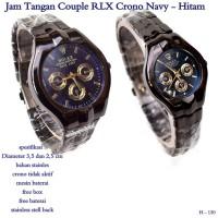 jam tangan couple RLX crono navy - hitam fullset