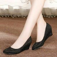 Jual NEW Wedges Sepatu Kerja Wanita Cewek Pantofel Dubai Hitam Murah