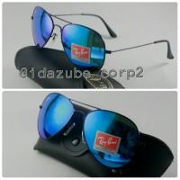 Jual Kacamata vintage Ray*** 3026 Aviator Hitam biru (Glass) | OBRAL! Murah