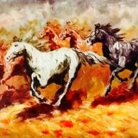 Lukisan Kuda Lari 80x60 Palet / Timbul Pembawa Hoki & Keberuntungan 03
