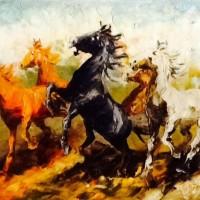 Lukisan Kuda Lari 80x60 Palet / Timbul Pembawa Hoki & Keberuntungan 08