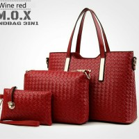 Tas Shoulder Wanita Paket 3in1 Merah motif Anyaman Toko Tas Murah