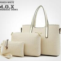 Tas Shoulder Wanita Paket 3in1 Putih/Krem motif Anyaman Toko Tas Murah