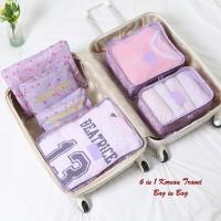 Jual New 6 in 1 Korean Travel Bag in Bag CHERRY (1 set isi 6 pcs organizer) Murah